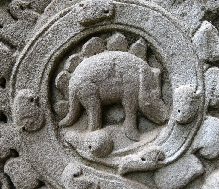 Stegosaur Engraving at Angkor Wat