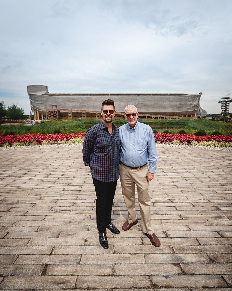 Jason Crabb and Ken Ham in Front of the Ark