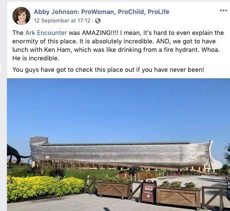 Abby Johnson's Facebook Post
