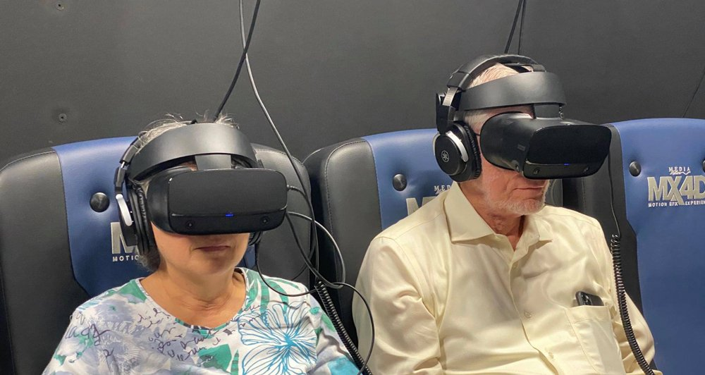 Ken and Mally at the Ark Encounter Virtual Reality Truth Traveler