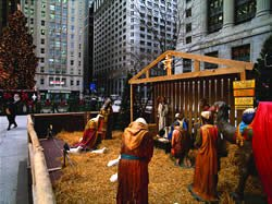 Nativity scene in the city