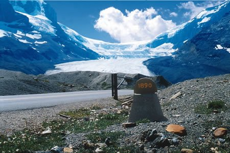 The Athabasca Glacier has retreated since 1890.
