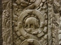 A dinosaur bas-relief at Angkor Wat