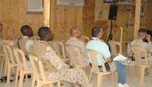 military bible study, sitting