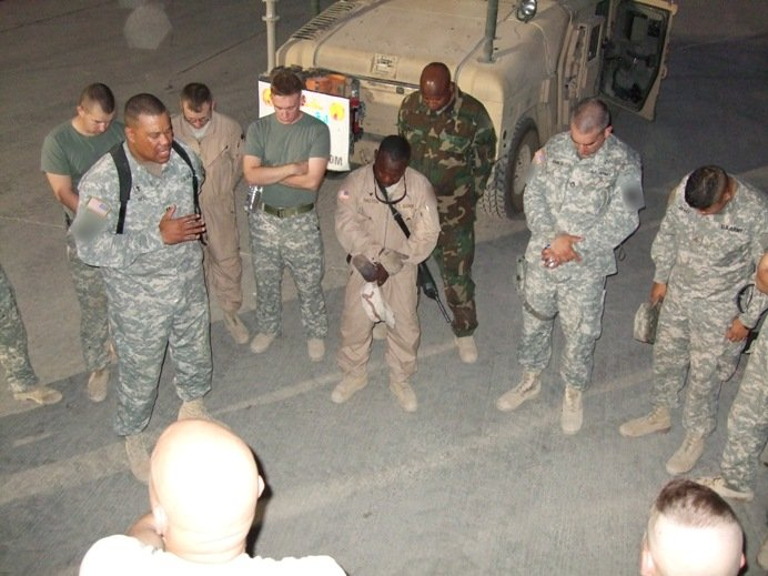 military bible study praying