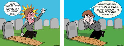 Different responses at a graveside