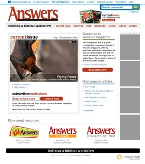 Answers magazine site redesign