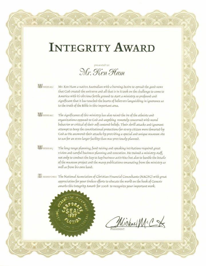 NACFC Integrity Award Certificate