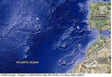 Potential locations for Atlantis