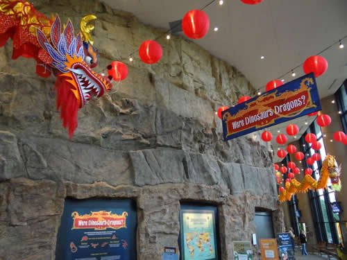 Dragon exhibit in the large portico of the Creation Museum