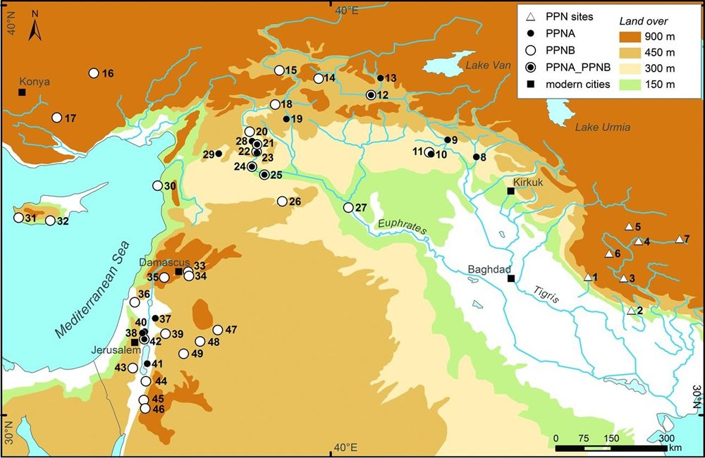 Evidence of ancient farming operations throughout the Fertile Crescent