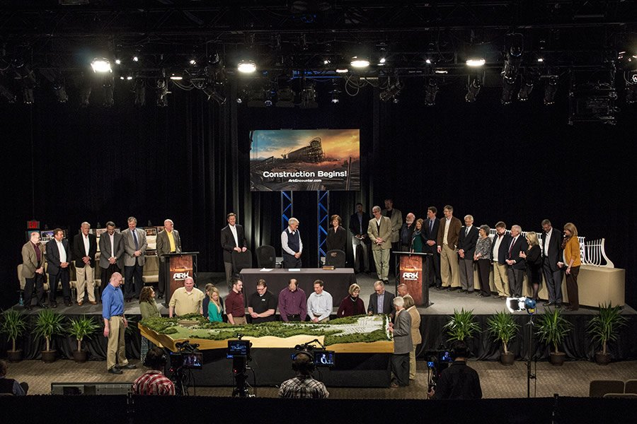 The online press conference concluded with AiG staff, board members, and guests gathering on the stage or near the Ark model inside the Creation Museum's Legacy Hall.