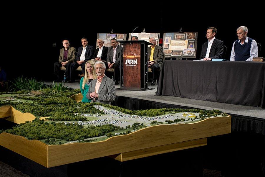 Patrick Marsh, lead designer for the Ark Encounter, and designer Kristen Andersen showed the scale model of the Ark property.