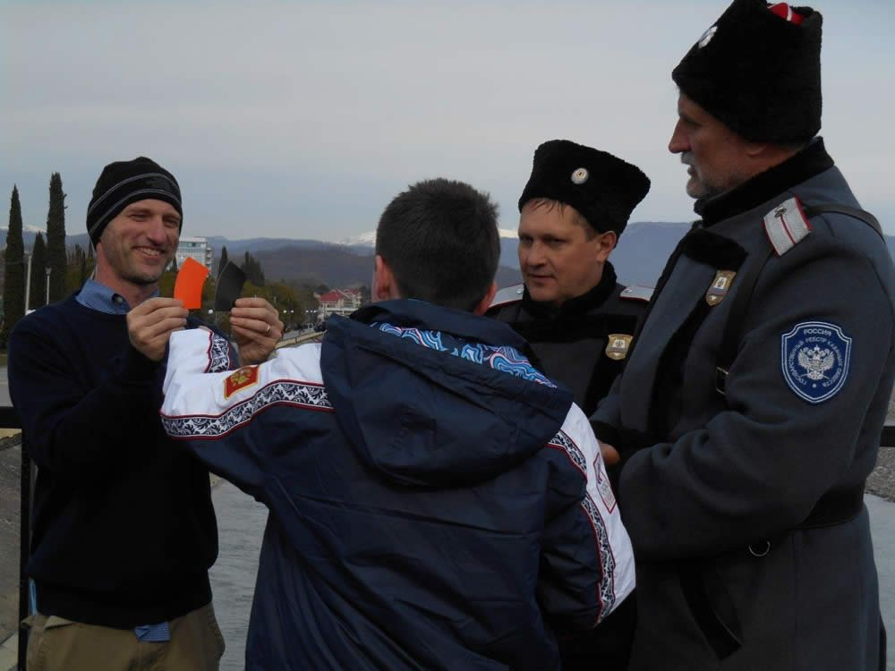 Scott Seigman with Russian soldiers at Sochi Olympics
