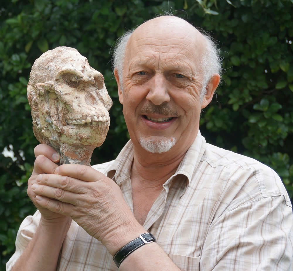 Professor Ronald Clarke with Skull