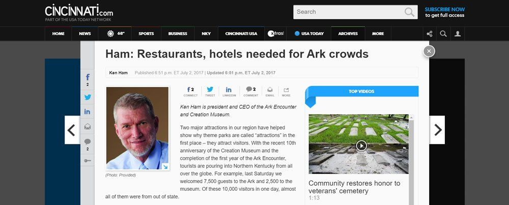 Restaurants, Hotels Needed for Ark Crowds