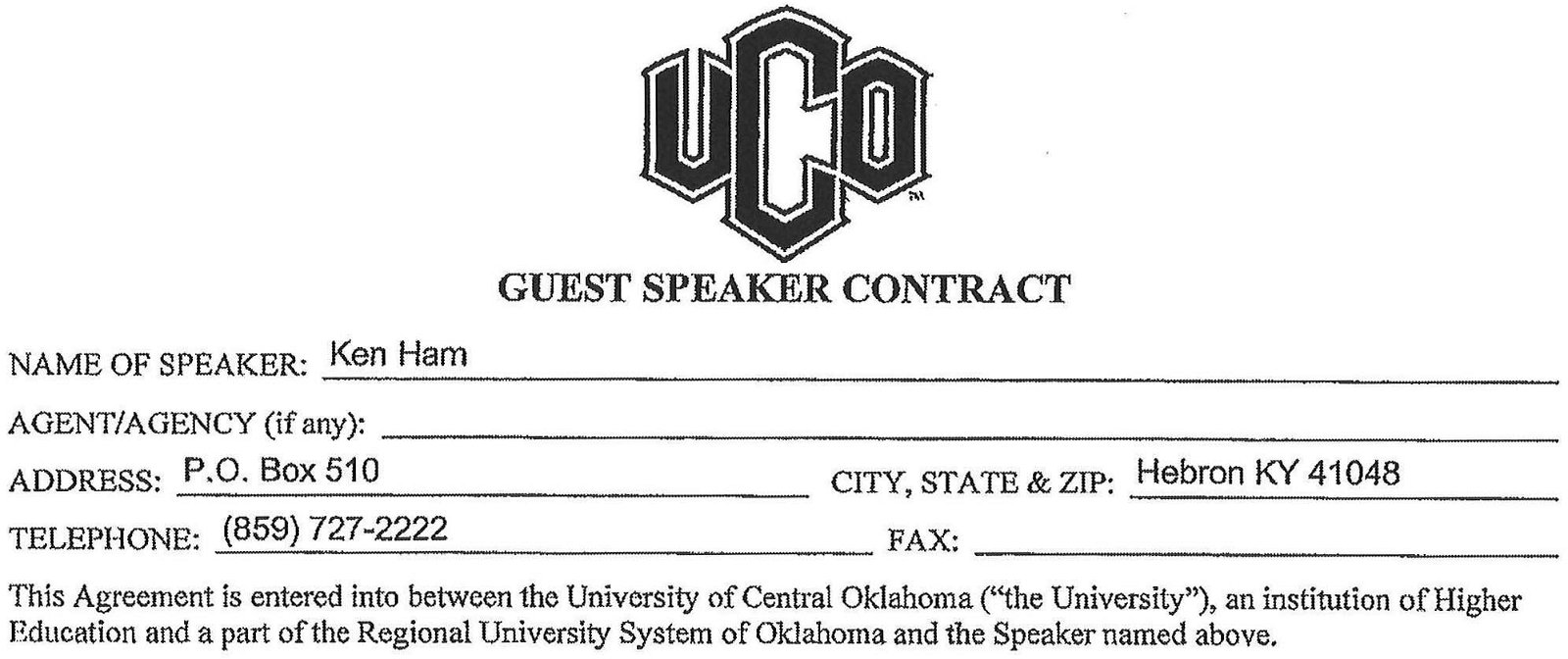 Header of New UCO Contract