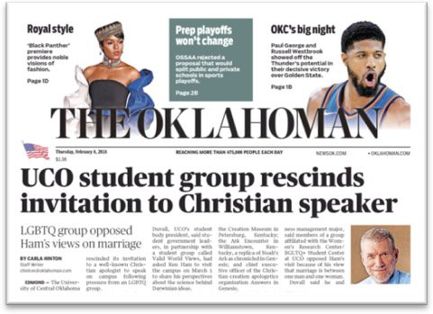 Front Page of The Oklahoman