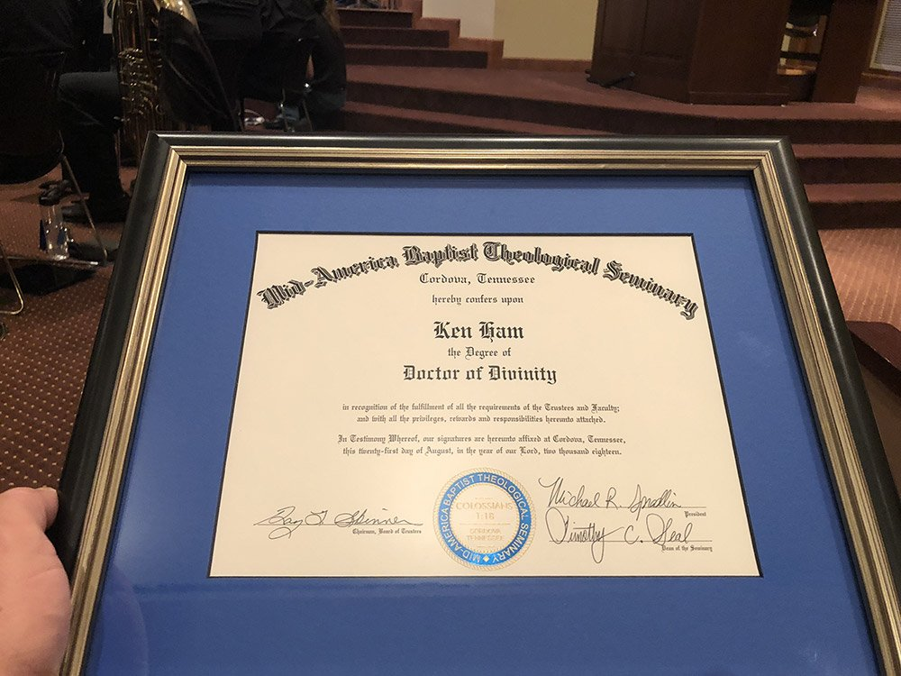 Ken Ham's honorary degree