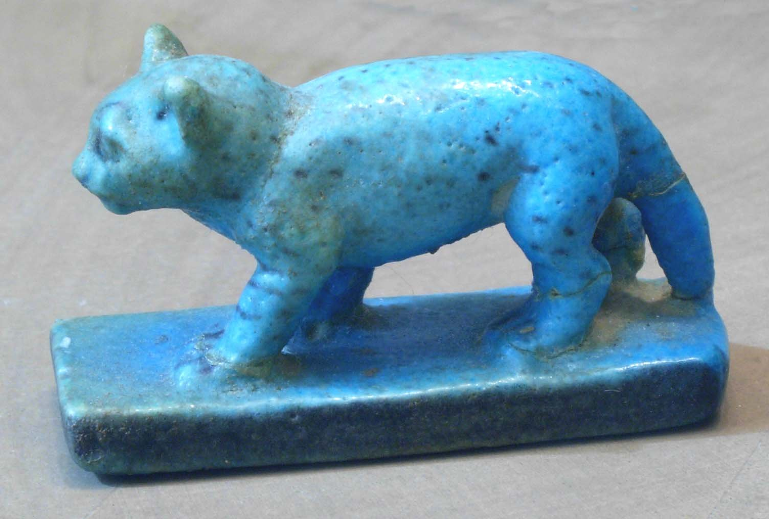 Egyptian faience cat figurine