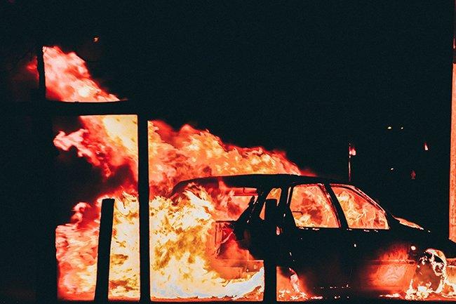 Florian Olivo (burning car)