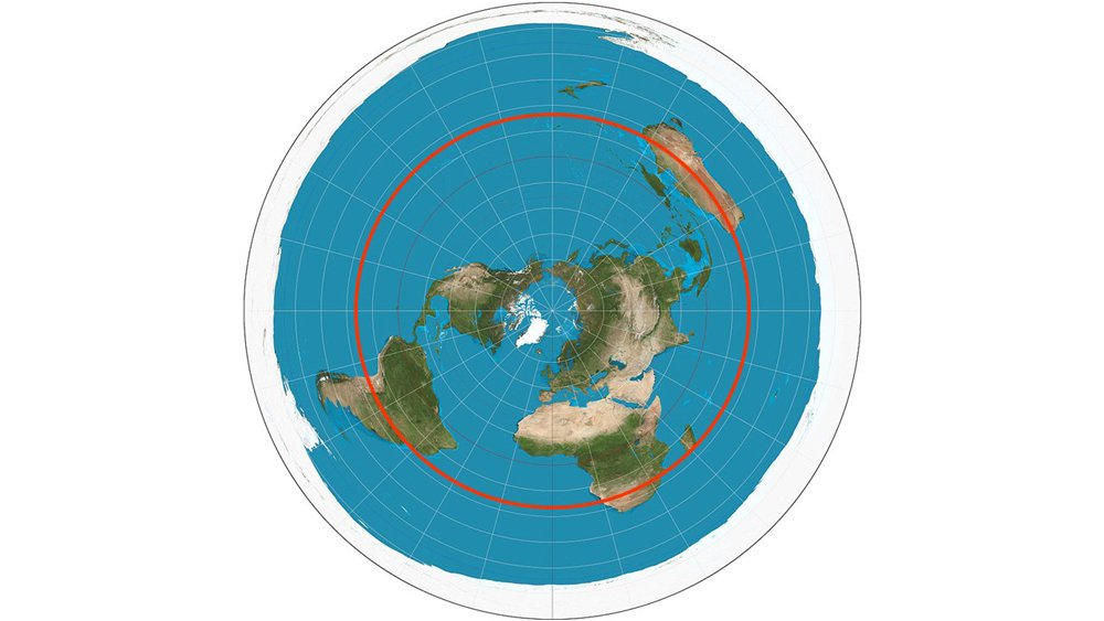 Flat earth map with December solstice