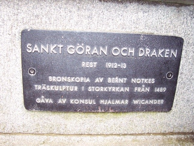 Plaque: St. George Slaying the Dragon at Gamla Stan