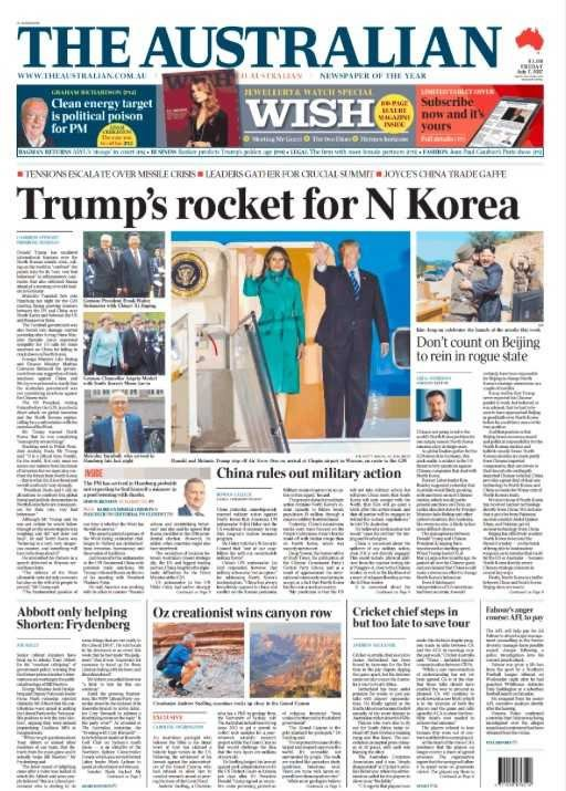 Front Page of The Australian Newspaper