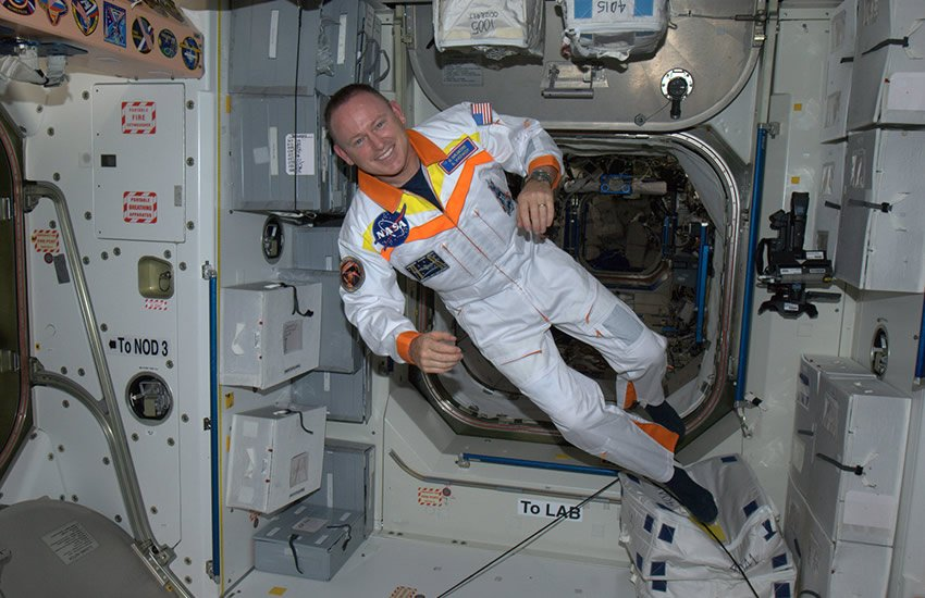 Weightless on the International Space Station.