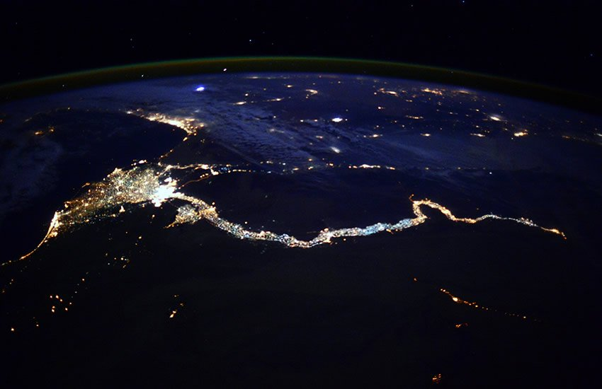 The Nile River at night.