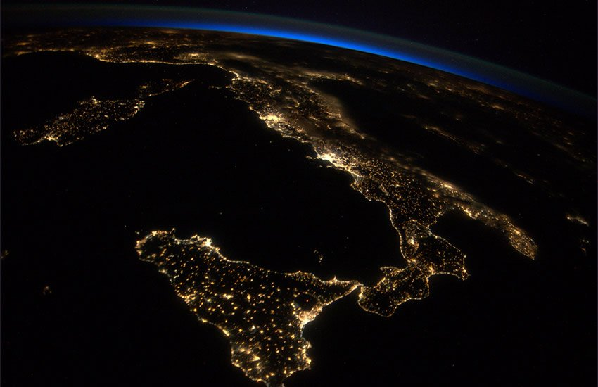 Italy and Sicily at night.