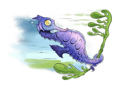 Seahorse with Seaweed