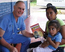 Dr. Hammond with a mother and child in Nicaragura