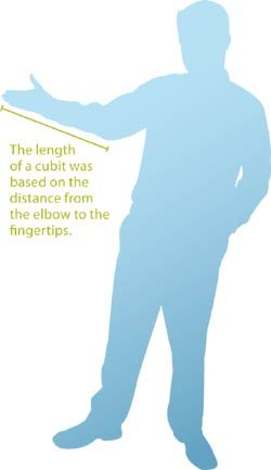 The length of a cubit was based on the distance from the elbow to the fingertips