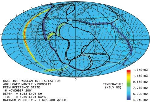 Figure 3: Model of catastrophic plate tectonics after 15 days