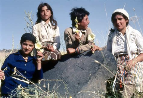 Kurdish girls by rock with carvings
