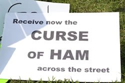 A sign attacking Ken Ham