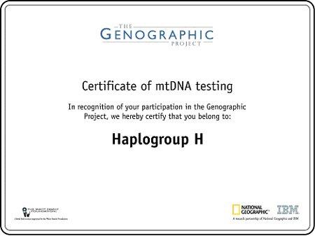 Genographic Certificate