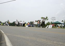 A protest outside the Creation Museum