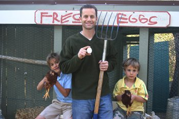 Kirk Cameron and children collecting eggs.