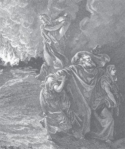 Lot Fleeing Sodom and Gomorrah