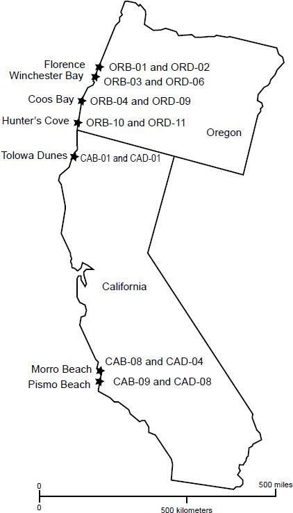 Fig. 1. Locations and sample numbers of beach-dune paired samples that were collected for this study along the west coast of the United States.
