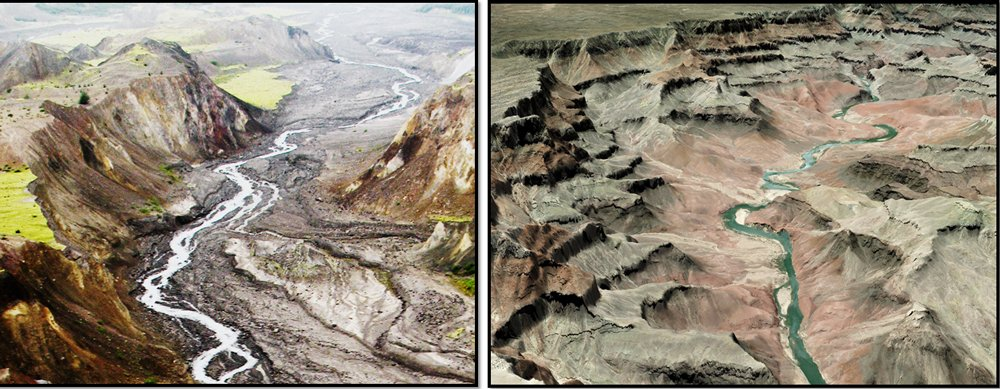 Spillways at Mount St. Helens and Grand Canyon