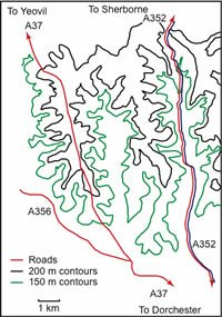 Simplified contour map of mid-basin dry valleys