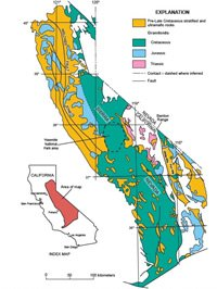 Generalized geology of the Sierra Nevada and adjacent areas
