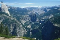 (b) The Little Yosemite Valley, as seen from Glacier Point looking upstream along the Merced River, with Half Dome on the left, and Nevada and Vernal Falls to the center and right.