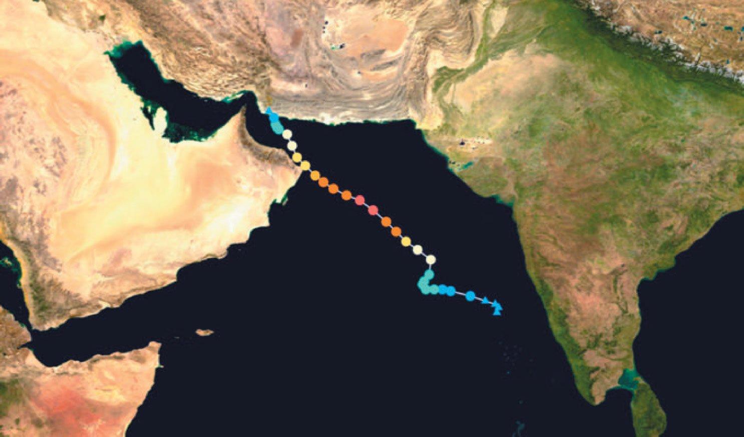 Track of Tropical Cyclone Gonu