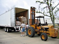 Unloading hurricane-relief items