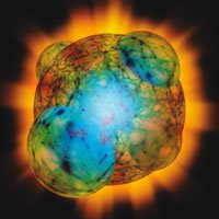 Conceptual artwork of several areas of inflation (domes) in the early Universe