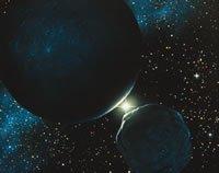 Artist illustration of Pluto, Charon, and the sun